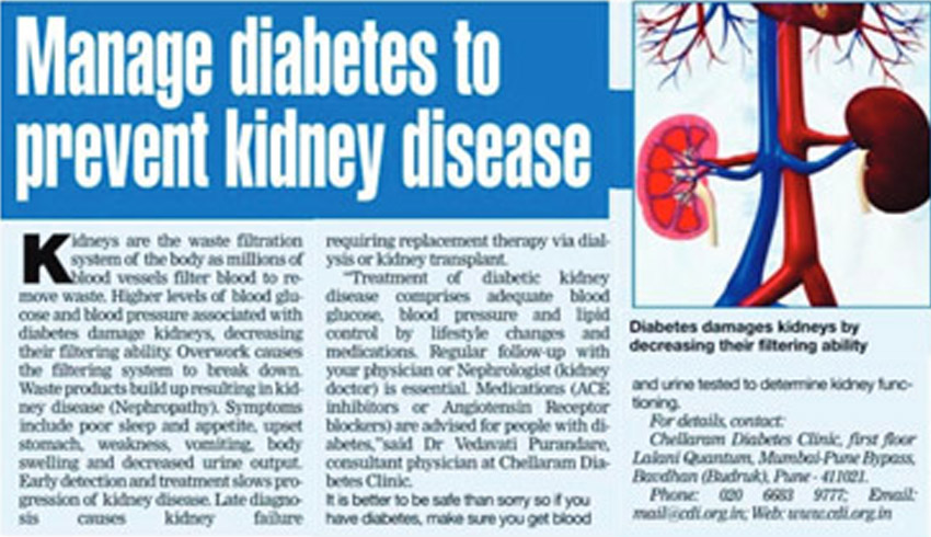Manage Diabetes to prevent kidney disease